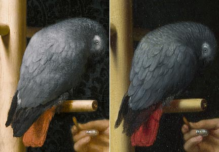 Comparison of 'A Young Woman feeding a Parrot', Private Collection, and 'A Woman in a Red Jacket feeding a Parrot', National Gallery, details of parrot
