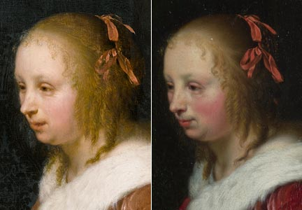 Comparison of 'A Young Woman feeding a Parrot', Private Collection, and 'A Woman in a Red Jacket feeding a Parrot', National Gallery, details of head