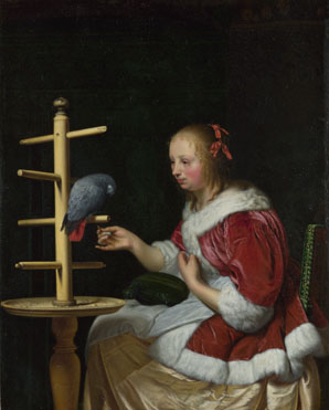 Frans van Mieris the Elder: 'A Woman in a Red Jacket feeding a Parrot'
