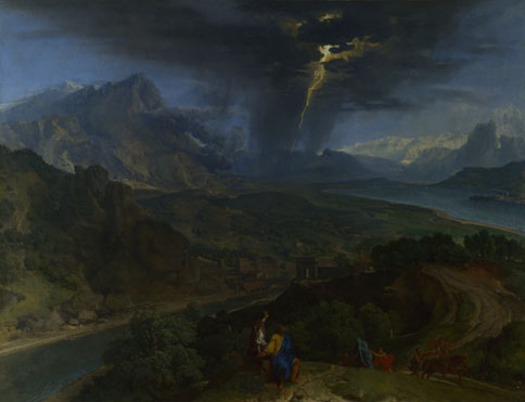 Francisque Millet: 'Mountain Landscape with Lightning'