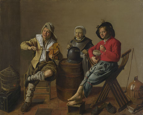 Jan Molenaer: 'Two Boys and a Girl making Music'