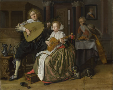 Jan Molenaer: 'A Young Man and Woman making Music'