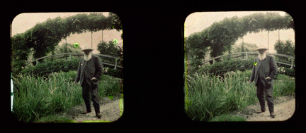 Stereoscopic view of Monet in his garden at Giverny