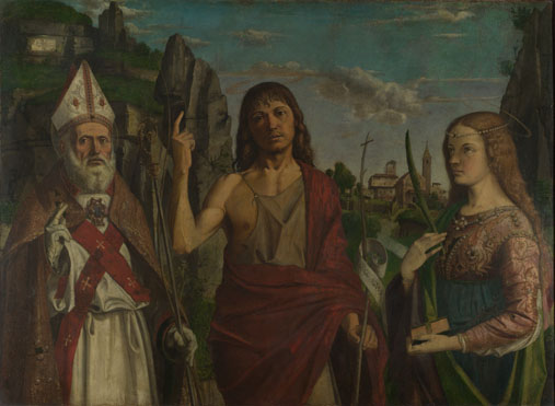 Bartolomeo Montagna: 'Saint Zeno, Saint John the Baptist and a Female Martyr'