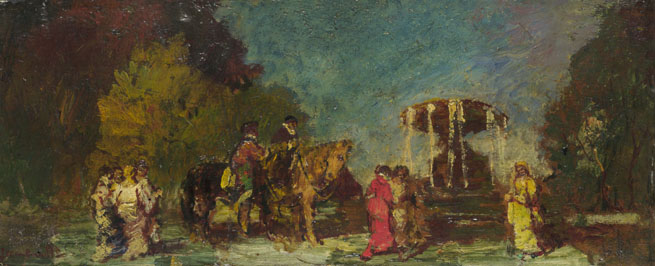 Adolphe Monticelli: 'Fountain in a Park'