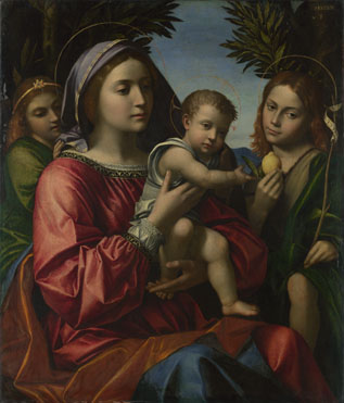 Paolo Morando: 'The Virgin and Child with the Baptist and an Angel'