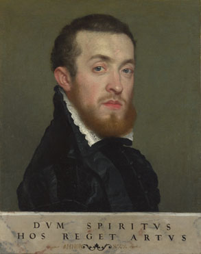 Giovanni Battista Moroni: 'Bust Portrait of a Young Man with an Inscription'