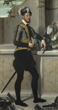 Giovanni Battista Moroni: 'A Knight with his Jousting Helmet'