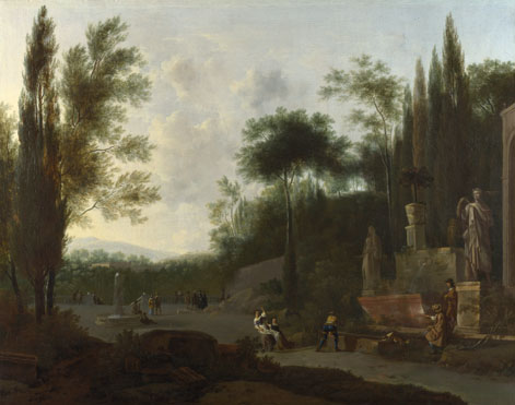 Frederick de Moucheron: 'Figures in an Italian Garden'