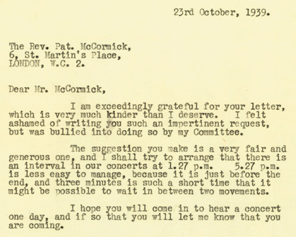 Extract from a letter from Kenneth Clark to Reverend Pat McCormick