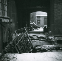 Crater in courtyard after bombing during Second World War