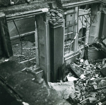 Bomb damage to West Reference section and old Boardroom