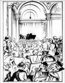 'Smiling Through' - cartoon of Gallery wartime concerts