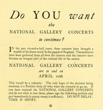 Pamphlet protesting about the end of the concerts