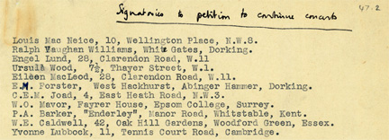 Extract from petition to save concerts, showing names of E. M. Forster and Vaughan Williams