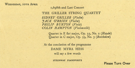 Programme from the final Myra Hess wartime concert