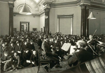 Photograph from musicians' platform into audience