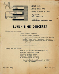 Cover of programme advertising lunchtime concerts during Second World War
