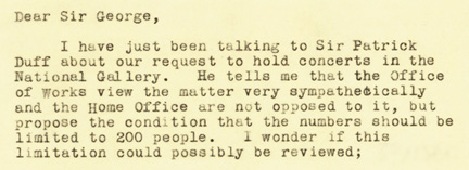 Extract from letter from Director Kenneth Clark to Ministry of Home Security