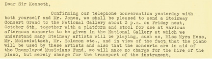 Extract of letter from Steinway company to Director Kenneth Clark