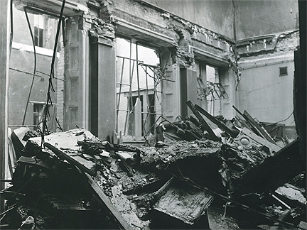 Debris in west reference section following bombing