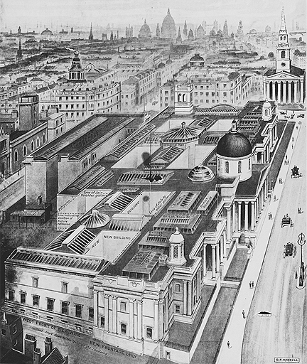 A print of the National Gallery in 1910, indicating new buildings
