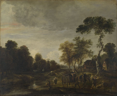 Aert van der Neer: 'An Evening Landscape with a Horse and Cart by a Stream'