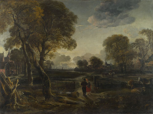 Aert van der Neer: 'An Evening View near a Village'
