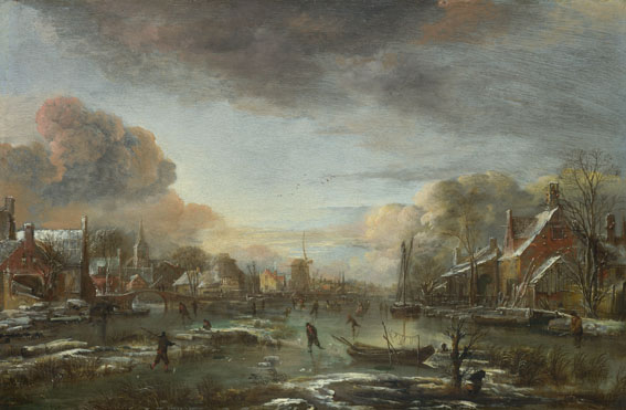 Aert van der Neer: 'A Frozen River by a Town at Evening'