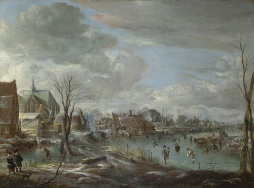 Aert van der Neer: 'A Frozen River near a Village, with Golfers and Skaters'