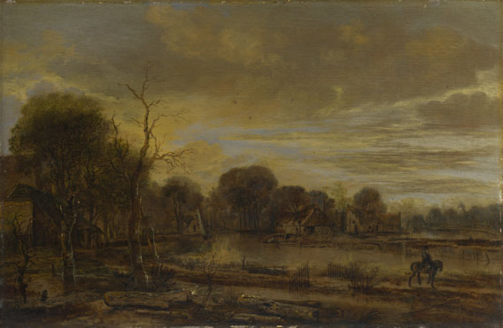 Aert van der Neer: 'A River Landscape with a Village'