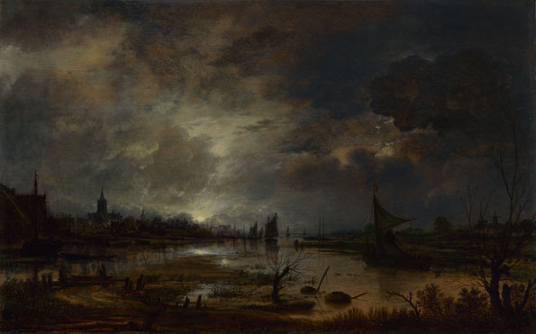 Aert van der Neer: 'A River near a Town, by Moonlight'