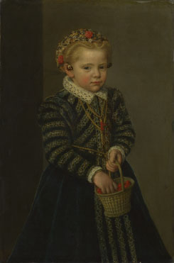 Netherlandish: 'A Little Girl with a Basket of Cherries'