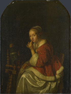 Caspar Netscher: 'A Lady at a Spinning-wheel'