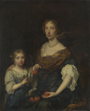 Caspar Netscher: 'Portrait of a Lady and a Girl'