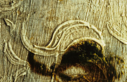 fig. 9 Detail from NG6539 showing ostrich feathers on the hat of Johann Friedrich the Magnanimous in raking light