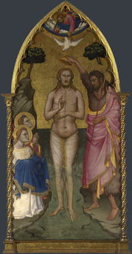 Attributed to Niccolo di Pietro Gerini: 'The Baptism of Christ: Main Tier Central Panel'