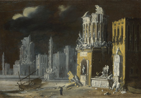 François de Nomé: 'Fantastic Ruins with Saint Augustine and the Child'