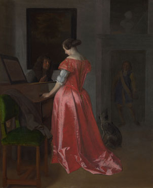 Jacob Ochtervelt: 'A Woman standing at a Harpsichord, a Man seated by her'