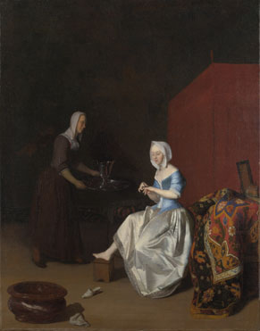 Jacob Ochtervelt: 'A Young Lady Trimming her Fingernails'