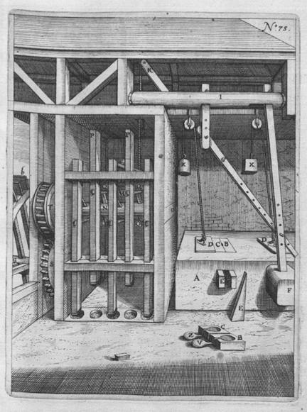 An oil press, from Georg Andreas Boecler's Theatrum machinarum novum, Cologne, 1662 © Cornell University Library