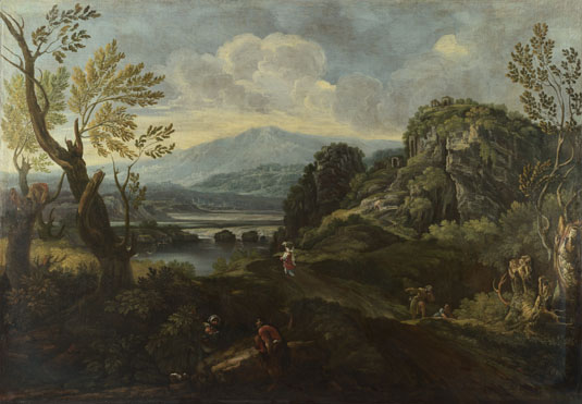 Attributed to Crescenzio Onofri: 'Landscape with Figures'