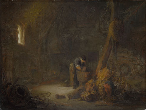 Isack van Ostade: 'The Interior of a Barn with Two Peasants'