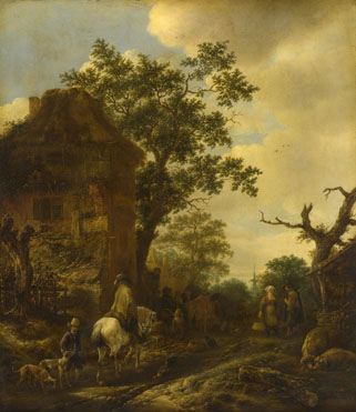 Isack van Ostade: 'The Outskirts of a Village, with a Horseman'