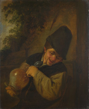 Adriaen van Ostade: 'A Peasant holding a Jug and a Pipe'