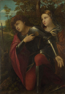 Attributed to Palma Vecchio: 'Saint George and a Female Saint'