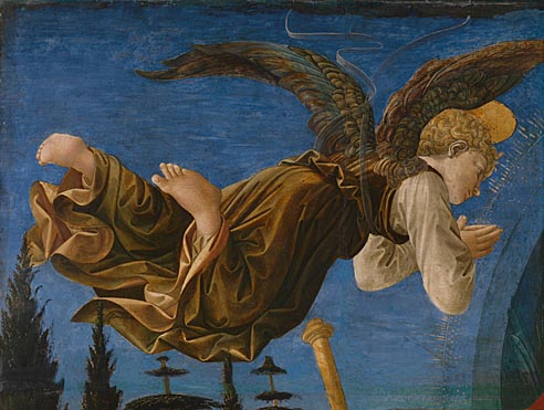 Francesco Pesellino and completed by Fra Filippo Lippi and workshop: 'Angel (Left Hand)'