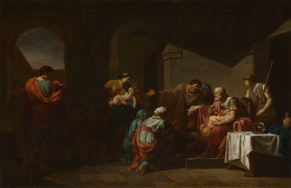 Jean-François-Pierre Peyron: 'Belisarius receiving Hospitality from a Peasant'