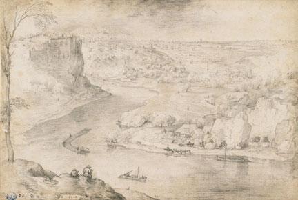 After Pieter Bruegel the Elder, 'River Landscape with Draftsman', about 1553. Musée des Beaux-Arts et d'Archéologie, Besançon