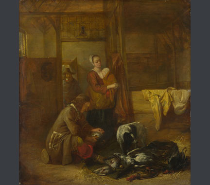 Pieter de Hooch, 'A Man with Dead Birds, and Other Figures, in a Stable', about 1655